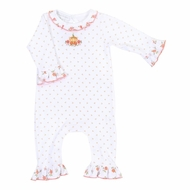 Magnolia Baby Girls Autumn's Classics Embroidered Pumpkin Ruffle Playsuit