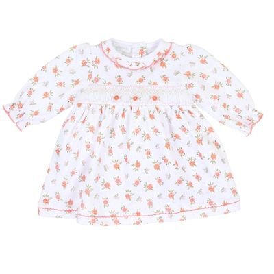 Magnolia Baby Girls Autumn's Classics Orange Fall Floral Smocked Dress