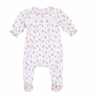 Magnolia Baby Girls Autumn's Classics Orange Fall Floral Smocked Footie