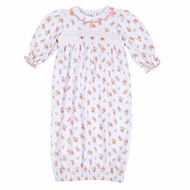 Magnolia Baby Girls Autumn's Classics Orange Fall Floral Smocked Gown