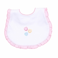 Magnolia Baby Girls Be Mine Embroidered Ruffle Bib - White with Valentine Hearts
