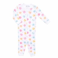 Magnolia Baby / Toddler Girls Be Mine Zipped Pajamas - Pastel Valentine Hearts