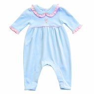 Magnolia Baby Girls Blue Charlotte's Classics Playsuit Romper with Collar