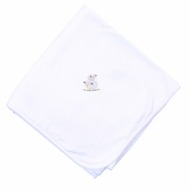 Magnolia Baby Girls / Boys White Tiny Sheep Receiving Blanket