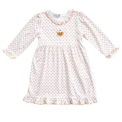 Magnolia Baby Girls Candy Corn Pumpkin Orange Embroidered Dress Set