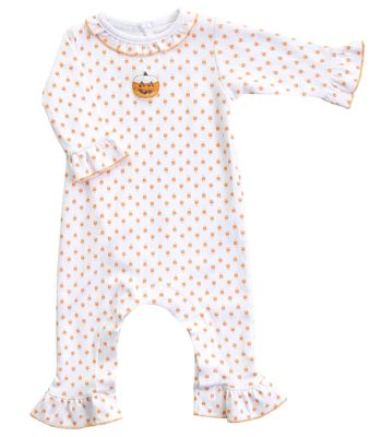 Magnolia Baby Girls Candy Corn Pumpkin Orange Embroidered Ruffle Playsuit