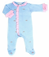 Magnolia Baby Girls Charlotte's Classics Blue Scattered Embroidery Pink Ruffle Footie