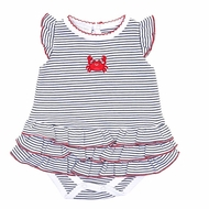 Magnolia Baby Girls Crab-ulous Embroidered Red Crab Flutters Ruffle Bubble