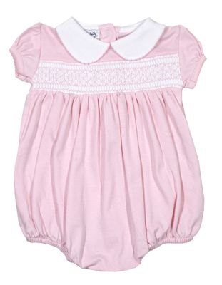Magnolia Baby Girls Delanie and Dillon's Classics Smocked Bubble - Pink