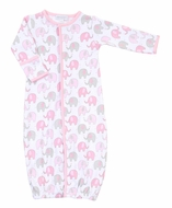 Magnolia Baby Girls Elephant Print Converter Gown - Pink