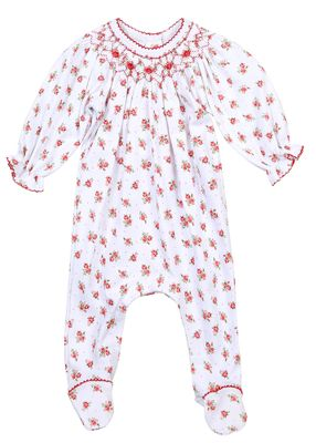 Magnolia Baby Girls Eve's Classics Red Floral Bishop Printed Footie