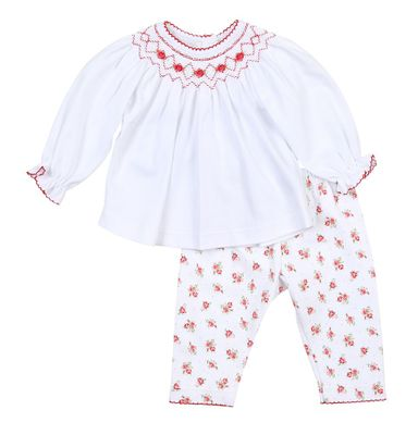 Magnolia Baby Girls Eve's Classics Smocked Red Floral Bishop Pant Set