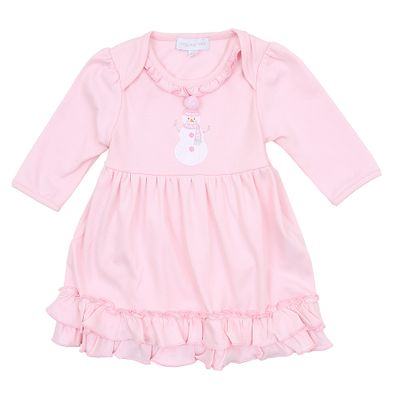 Magnolia Baby Girls Frosty Fun Applique Snowman Dress Set - Pink