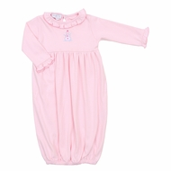 Magnolia Baby Girls Frosty Fun Embroidered Ruffle Gown - Pink Snowman