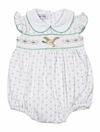 Magnolia Baby Girls Green Duck Life Smocked Collar Flutters Bubble