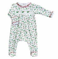 Magnolia Baby Girls Green Happy Holly Days Smocked Christmas Footie