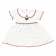 Magnolia Baby Girls Happy Holly-Days! White & Red Embroidered Dress Set