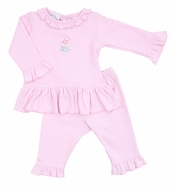 Magnolia Baby Girls Hello Cupcake! Pink Happy Birthday Ruffled Pant Set