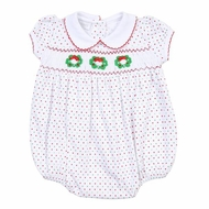 Magnolia Baby Girls Holiday Wreath Classics Smocked Bubble