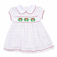 Magnolia Baby Girls Holiday Wreath Classics Smocked Collared Dress