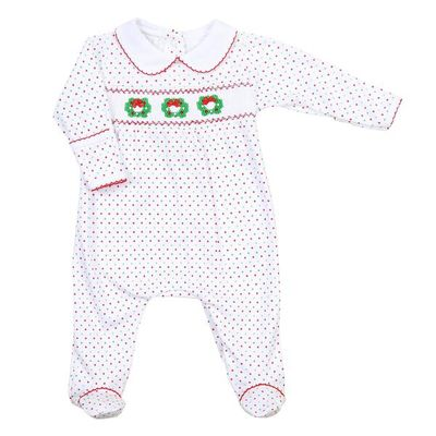 Magnolia Baby Girls Holiday Wreath Classics Smocked Footie