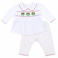 Magnolia Baby Girls Holiday Wreath Classics Smocked Pant Set