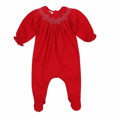 Magnolia Baby Girls Julie & James Classics Red Smocked Footie - Bishop