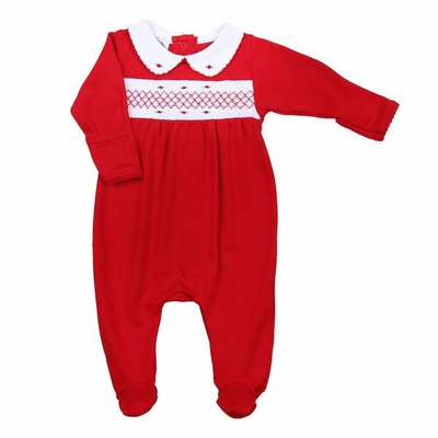 Magnolia Baby Girls Julie & James Classics Red Smocked Footie with Collar - Girl