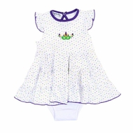 Magnolia Baby Girls Mardi Gras Embroidered Flutters Dress - White