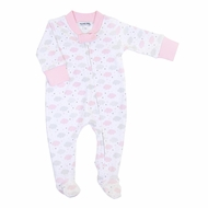 Magnolia Baby Girls My Little Star Clouds Printed Zipped Footie - Pink