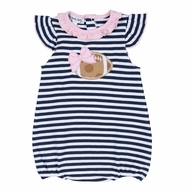 Magnolia Baby Girls Navy Blue Football Stripes Flutters Bubble