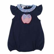 Magnolia Baby Girls Navy Blue Fresh Picked! Red Apple Flutters Bubble
