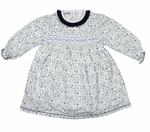 Magnolia Baby Girls Navy Blue / Green Floral Winter Blossoms Smocked Dress