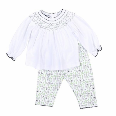 Magnolia Baby Girls Navy Blue / Green Winter Blossoms Floral Smocked Pant Set