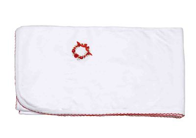 Magnolia Baby Girls Noelle's Classics White Blanket with Red Embroidered Wreath