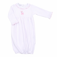 Magnolia Baby Girls Oh Deer! Reindeer Embroidered Ruffle Gown - Pink