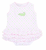 Magnolia Baby Girls Oh Snap! Pink / Green Dots Alligator Ruffle Bubble