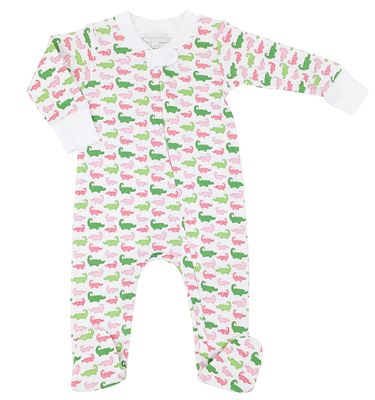 Magnolia Baby Girls Oh Snap! Printed Alligators Zip Footie - Green / Pink