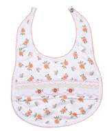 Magnolia Baby Girls Orange Fall Floral Autumn's Classics Smocked Bib