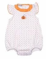 Magnolia Baby Girls Orange My Little Boo Embroidered Flutters Bubble