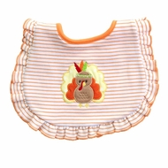 Magnolia Baby Girls Orange Stripe Gobble Til You Wobble Turkey Bib - Ruffle
