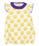 Magnolia Baby Girls Paw Print Printed Flutters Bubble - LSU Yellow