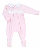 Magnolia Baby Girls Pink Cora and Cole's Classics Smocked Collared Footie