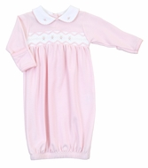 Magnolia Baby Girls Pink Cora and Cole's Classics Smocked Collared Gown