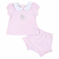 Magnolia Baby Girls Pink Darling Bunnies Embroidered Ruffle Bloomers Set
