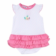Magnolia Baby Girls Pink Fruit Pops Embroidered Ruffle Flutters Bubble