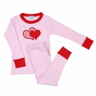 Magnolia Baby Girls Pink Love Applique Red Heart Long Pajamas