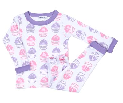 Magnolia Baby Girls Pink / Purple Birthday Cupcake Pajamas