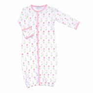 Magnolia Baby Girls Pink Spring Tulips Printed Converter Gown