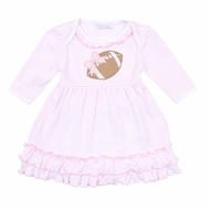 Magnolia Baby Girls Pink Stripe Love Football Applique Dress Set